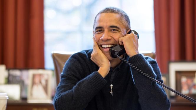 President Obama on phone